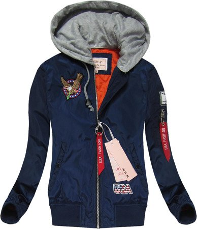 BOMBER JACKET WITH BADGES  NAVY BLUE (W558)