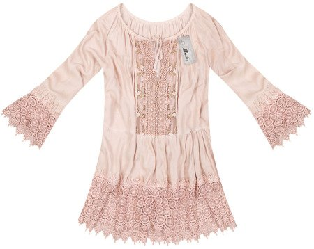 OVERSIZED BOHO TOP WITH FRILL DETAIL OLD ROSE (2008)
