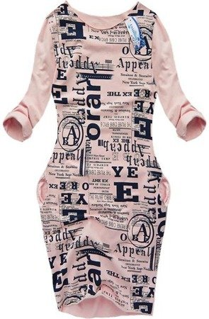 WORD PRINTED BUBBLE DRESS PINK (6872)