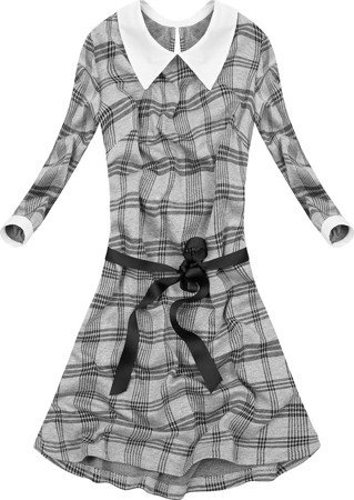 CHECKED DRESS WITH STAND-UP COLLAR GREY+BLACK (9962/2)