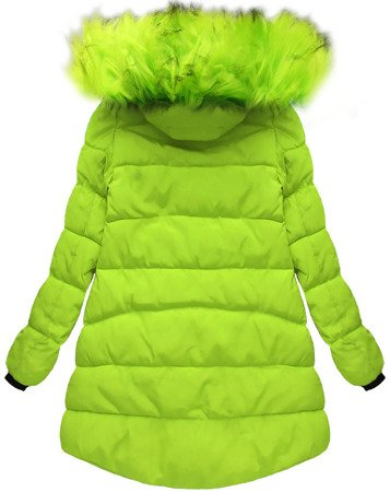 HOODED QUILTED JACKET LIME (W802)