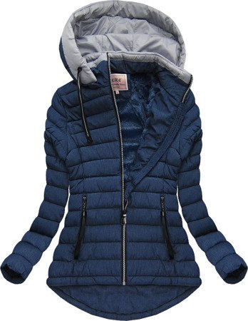 HOODED QUILTED JACKET NAVY BLUE (W515)