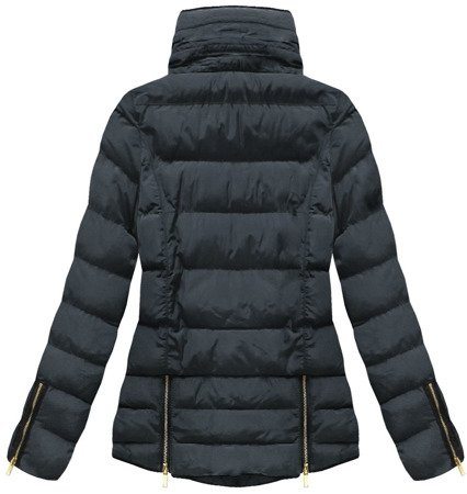 SHORT QUILTED HOODED JACKET NAVY BLUE (WZ575)