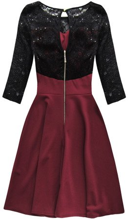 SEQUIN DETAIL DRESS BLACK+WINE (88104)