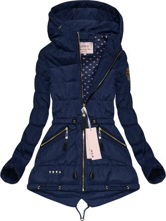 HOODED QUILTED JACKET NAVY BLUE (W554)