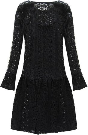 LACE FLARED DRESS BLACK (9910)