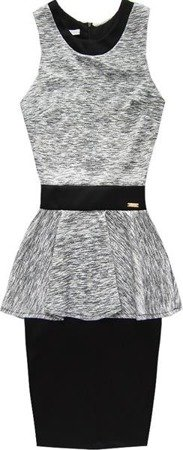 NEOPRENE PEPLUM DRESS GREY+BLACK (1101)