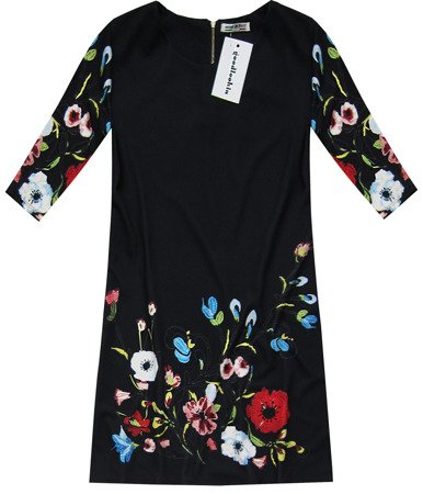 FLORAL PRINTED TRAPEZE DRESS BLACK (10172)