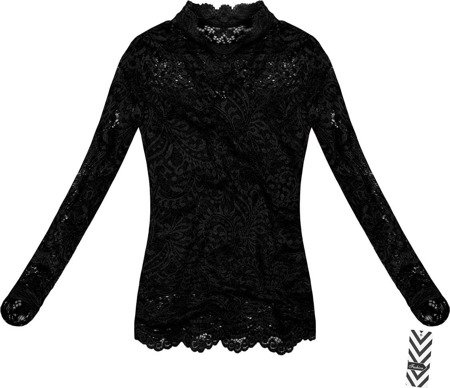 STAND-UP COLLAR LACE TOP BLACK (GOOD103)