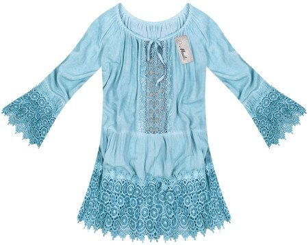 OVERSIZED BOHO TOP WITH FRILL DETAIL BABY BLUE (2003)