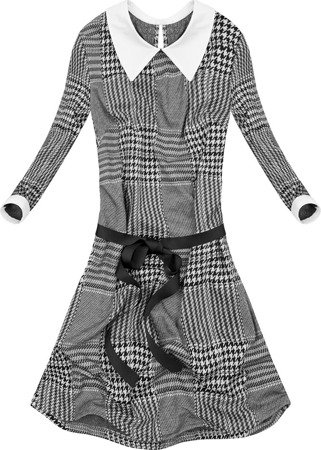 CHECKED DRESS WITH STAND-UP COLLAR GREY+BLACK (9962/1)
