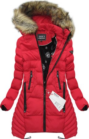 HOODED QUILTED JACKET RED (W817)