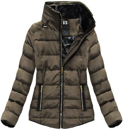 SHORT QUILTED HOODED JACKET BROWN (WZ575)