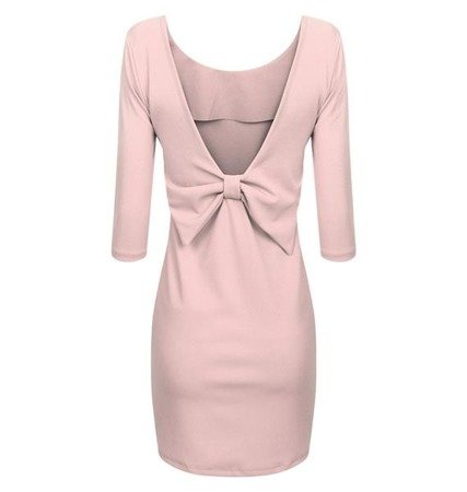 EMBELLISHED NECKLINE & BOW DETAIL DRESS POWDER PINK (VIVI)