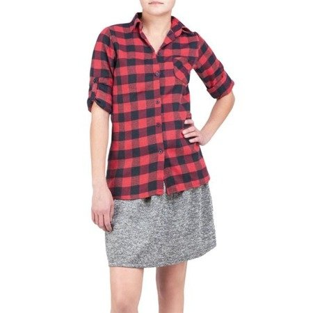 CHECKED SHIRT BLACK+RED (K111)