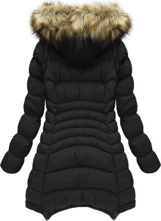 DETACHABLE SLEEVE HOODED QUILTED JACKET BLACK (W822)