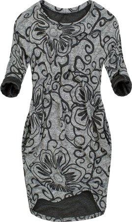 FLORAL PRINTED OVERSIZED DRESS DARK GREY (9100/2)