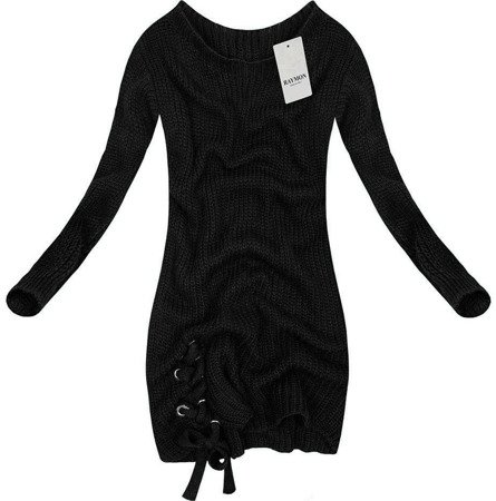 LONGLINE JUMPER WITH LACE-UP DETAIL BLACK (0473)