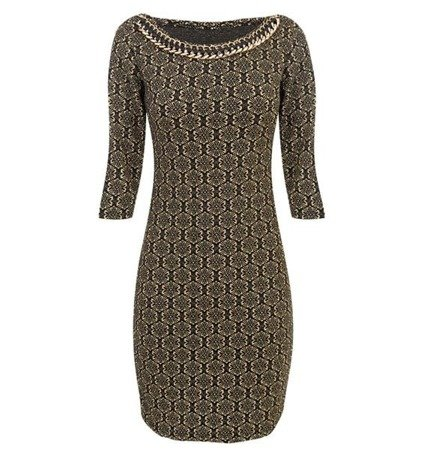 EMBELLISHED NECKLINE DRESS GOLD+BLACK (5410/1)
