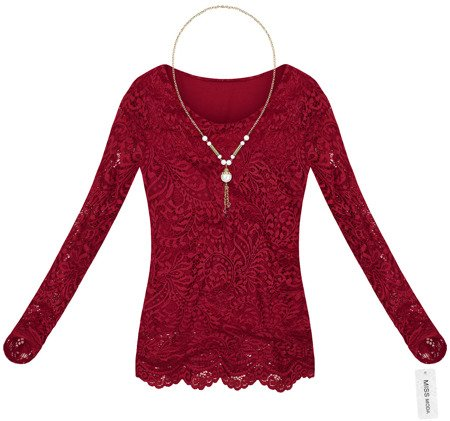 LACE TOP WITH NECKLACE WINE (GOOD101)