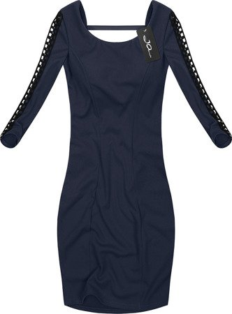 DRESS WITH OPENWORK INSERTS NAVY BLUE (2534)