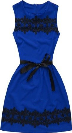 DRESS WITH OPENWORK LACE INSERTS CORNFLOWER BLUE (3675)