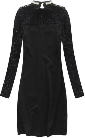 EMBELLISHED NECKLINE & LACE DETAIL DRESS BLACK (5632)