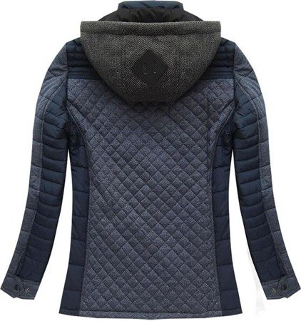 HOODED QUILTED JACKET NAVY BLUE 1 (M796)