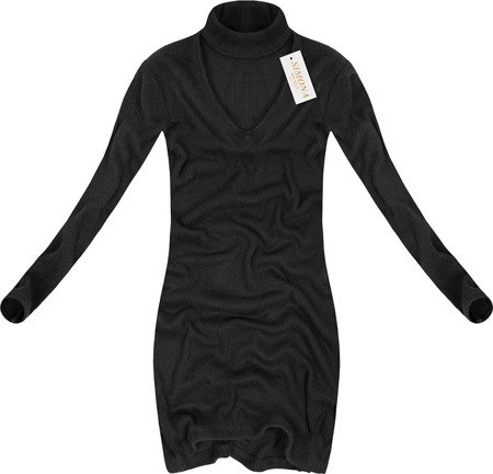 RIBBED POLO NECK DRESS BLACK (2007)