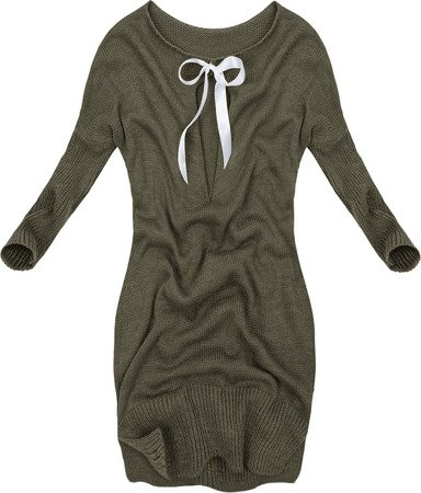 LONGLINE JUMPER WITH BOW DETAIL KHAKI (0541)