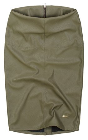 ECO LEATHER PENCIL SKIRT KHAKI (GOOD112)
