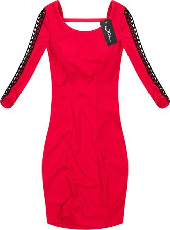 DRESS WITH OPENWORK INSERTS RED (2534)