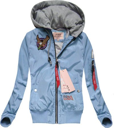 BOMBER JACKET WITH BADGES BLUE (W558)