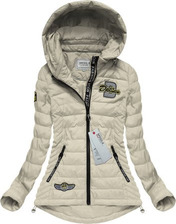 HOODED QUILTED JACKET WITH BADGES ECRU (XW508X)