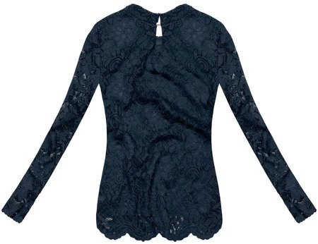 LACE TOP WITH BEADED NECKLINE NAVY BLUE (GOOD108)