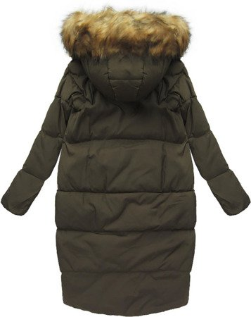 LONG NATURAL DOWN WINTER JACKET KHAKI (8073)