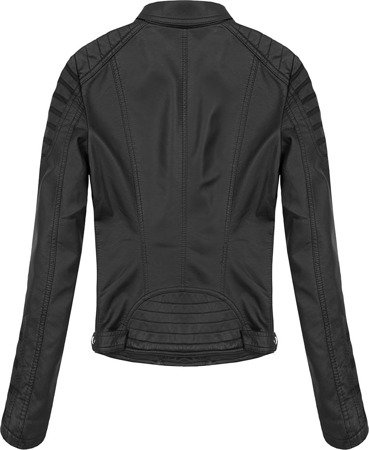 STITCH DETAIL MOTORCYCLE JACKET BLACK (5266)