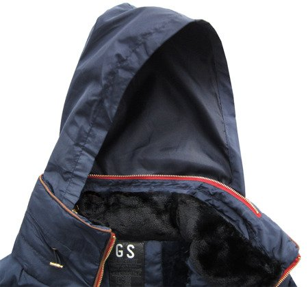 QUILTED HOODED JACKET NAVY BLUE (WZ571)