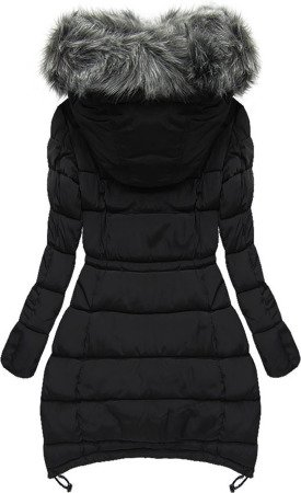 LONG HOODED QUILTED JACKET BLACK (W509)
