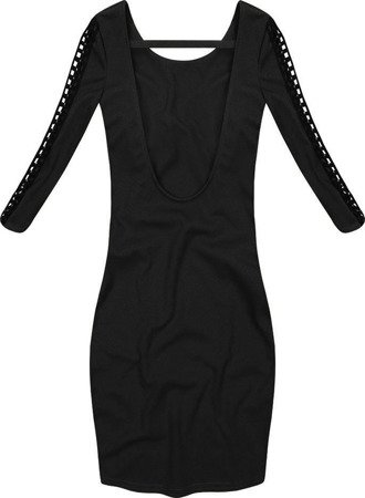 DRESS WITH OPENWORK INSERTS BLACK (2534)