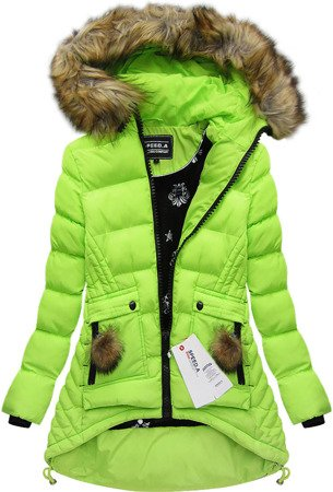 HOODED QUILTED JACKET LIME (W811)