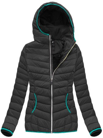 QUILTED HOODED JACKET BLACK-SEA (CX586W)