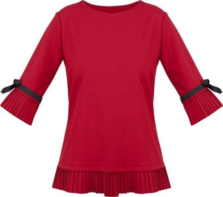 PLEAT AND RIBBON DETAIL TOP RED (BL200)