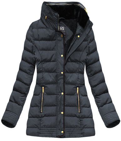 QUILTED HOODED JACKET NAVY BLUE (WZ567)