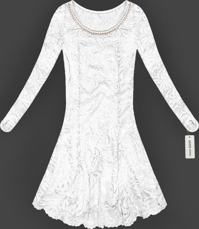 LACE FLARED DRESS WHITE (GOOD107)