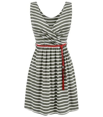STRIPED DRESS GREEN+WHITE (5138)