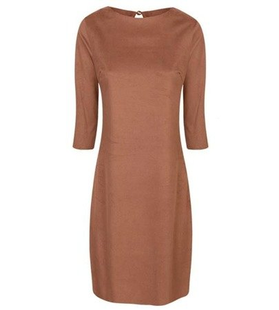 IMITATION SUEDE TRAPEZE DRESS GINGERBREAD (420)
