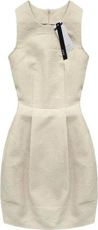 EMBOSSED PATTERN DRESS BEIGE (3121)
