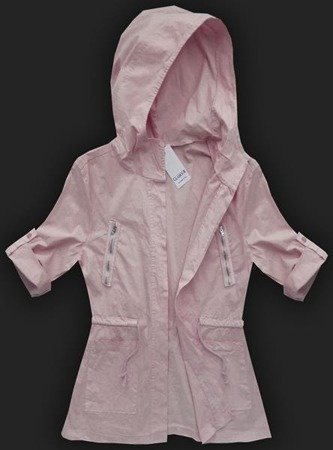 HOODED CARDIGAN WITH ZIP DETAIL POWDER PINK (6027)