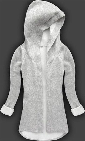 NEOPRENE HOODED BLAZER GREY+WHITE (8008-1)